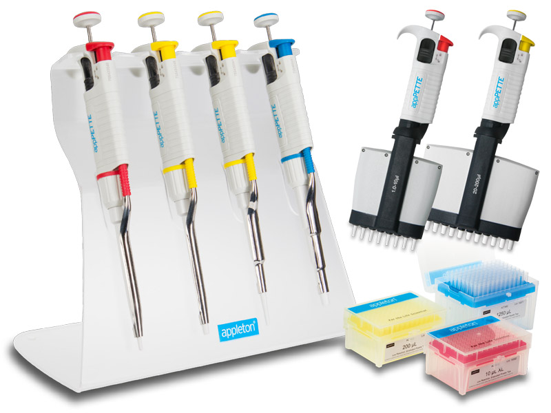 Appleton Pipettors, single-channel, multi-channel and single-channel kits